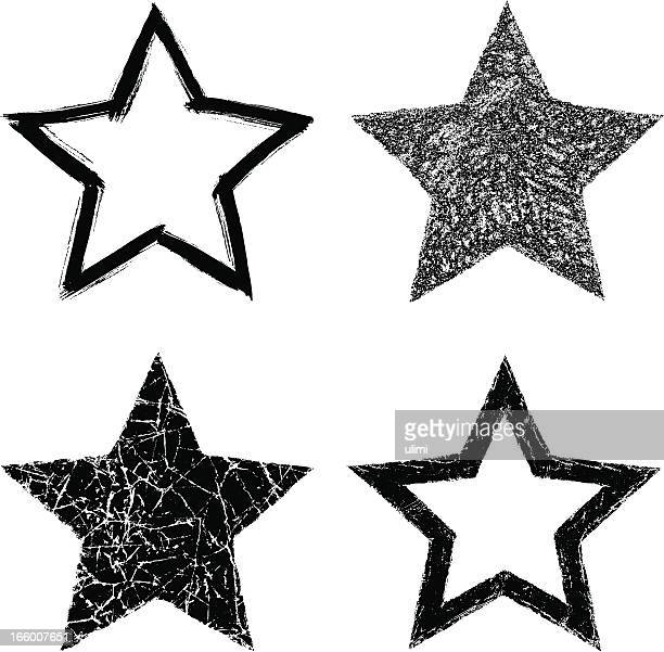 Black and white clip art of stars