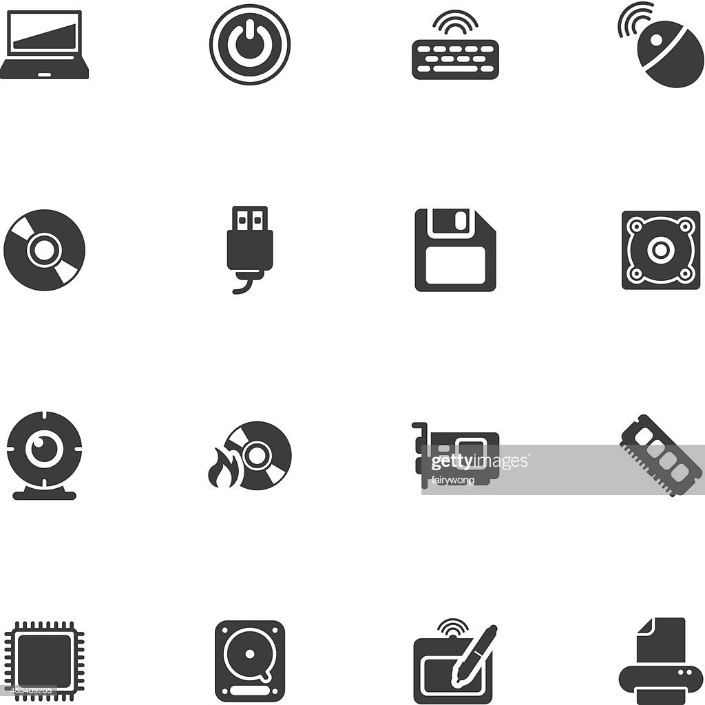 Black and white computer icons