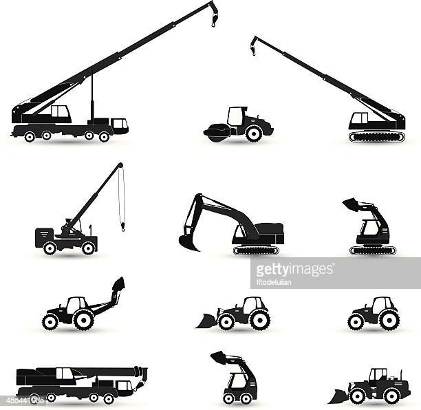 Black and white construction machines