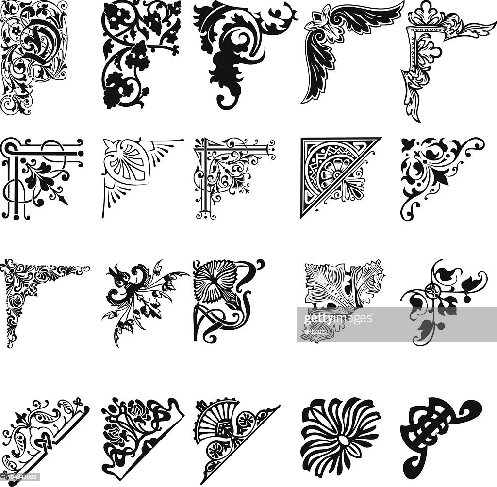 20 black and white corner patterns