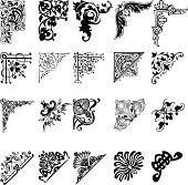 20 black and white corner patterns