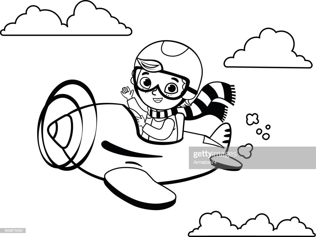 Black and white cute boy pilot flies on a plane.