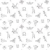 Black and White Cute Kids Seamless Pattern
