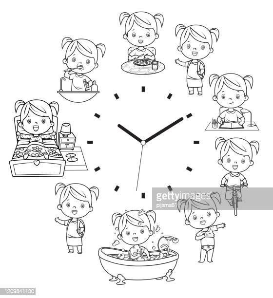 black and white, daily routine - breakfast cartoon stock illustrations