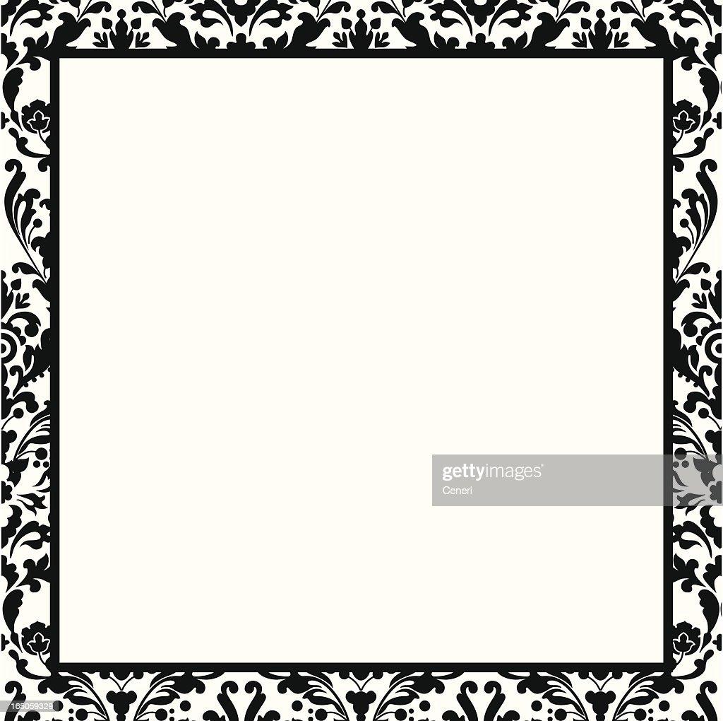 black and white damask border vector art