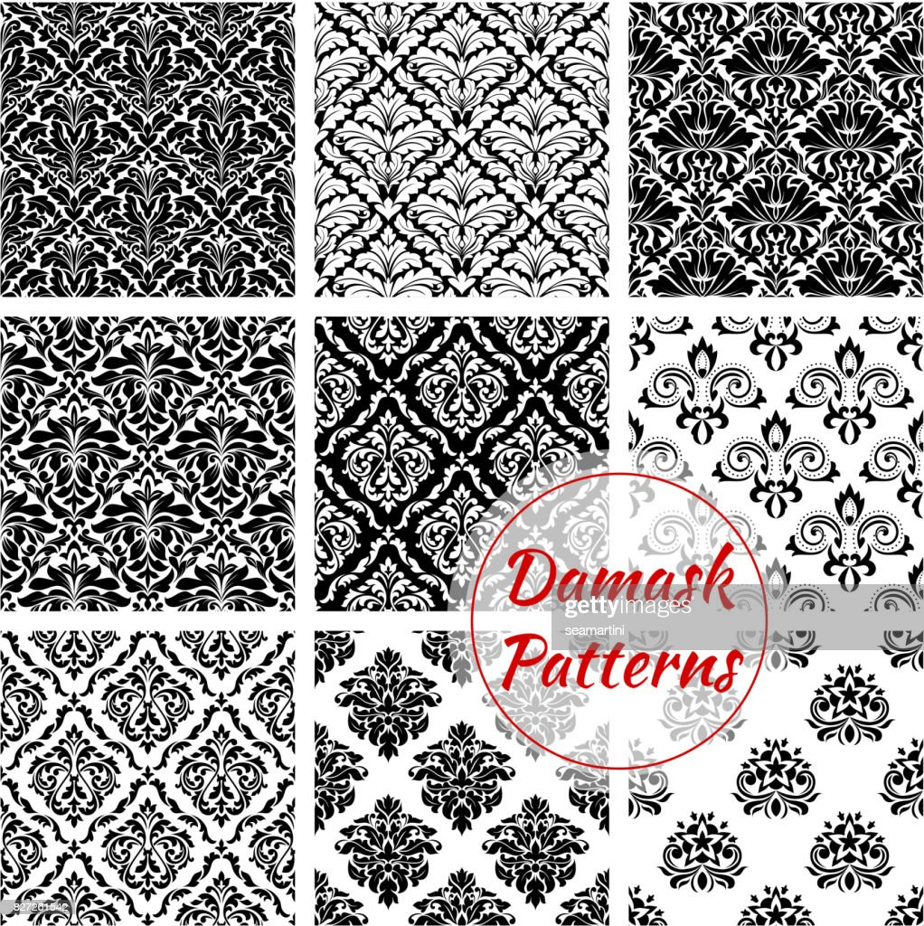 Black and white damask floral seamless pattern