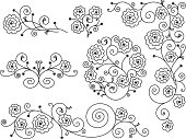 Black and white decal of English Roses