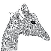 Black and white decorative giraffe.