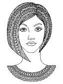 Black and white decorative girl portrait.