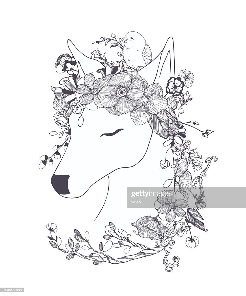 Black and white deer with ornamental flowers, bird.