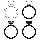 Black and white diamond ring silhouette set