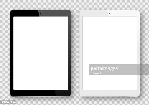 black and white digital tablet - blank stock illustrations