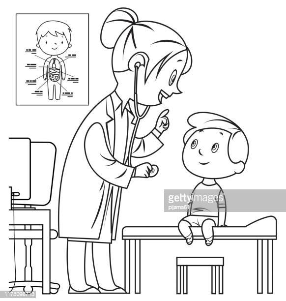 黒と白の医者と子供 - 超音波検査点のイラスト素材/クリップアート素材/マンガ素材/アイコン素材