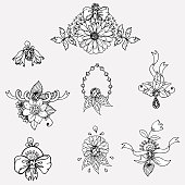 black and white doodle drawn set of floral ornament with flower and leaf and ribbons. sketch. Vector eps 8