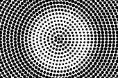 Black and white dotted texture. Centered halftone vector background.