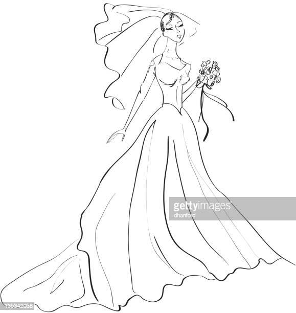 Black and White drawing of a Bride