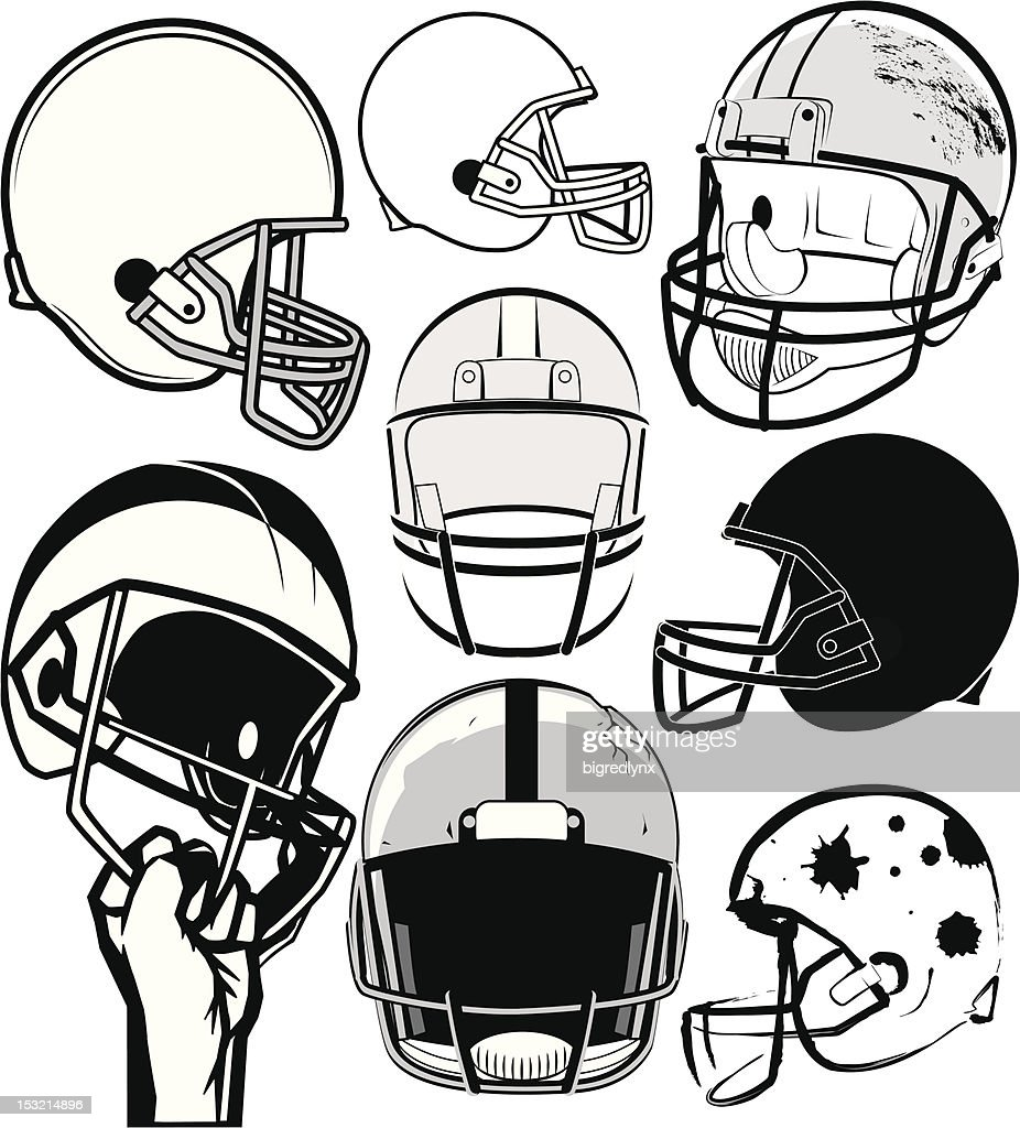 Black and white drawing of various football helmets