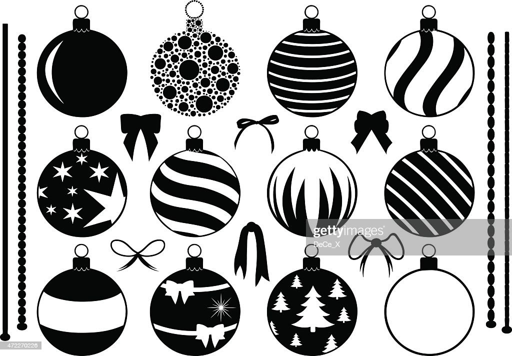 Black and white drawings of Christmas ornaments and bows