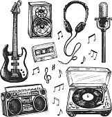 Black and white drawings of music related items