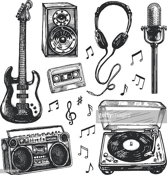 black and white drawings of music related items - rock stock illustrations