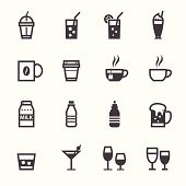 Black and white drinks and beverage icons