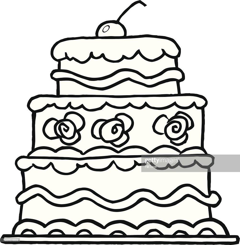 Schwarz Und Weiss Elegante Drei Ebenen Der Hochzeitstorte