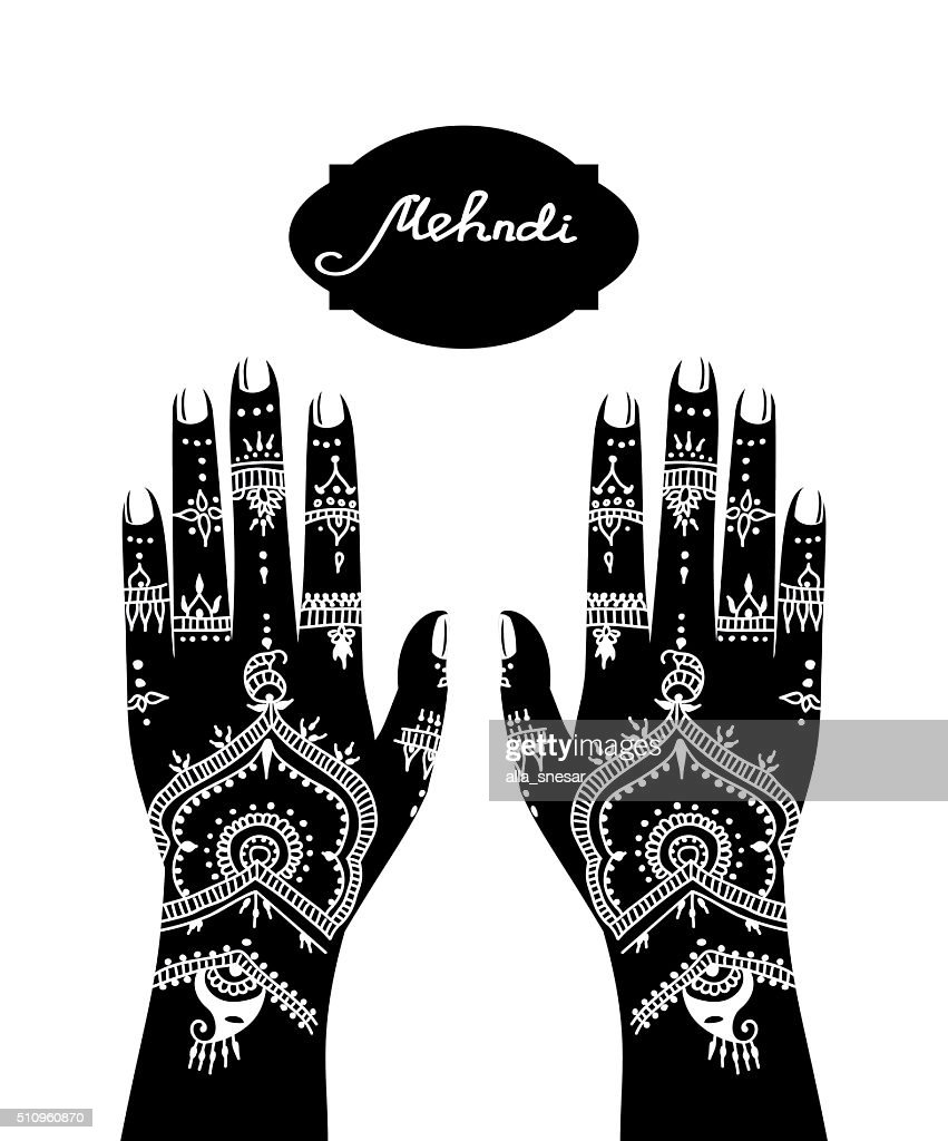 Black and white element yoga mudra hands with mehendi patterns.