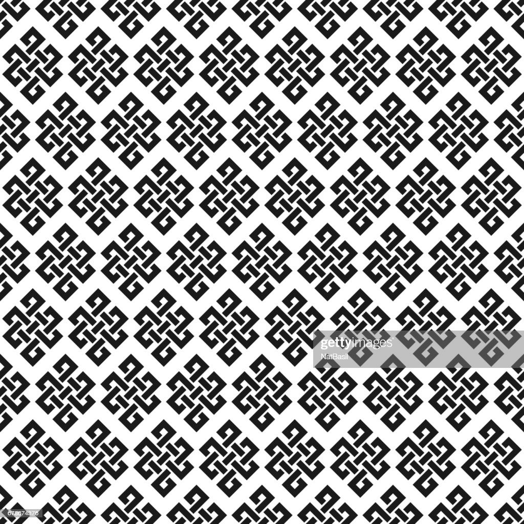 black and white endless knot seamless pattern
