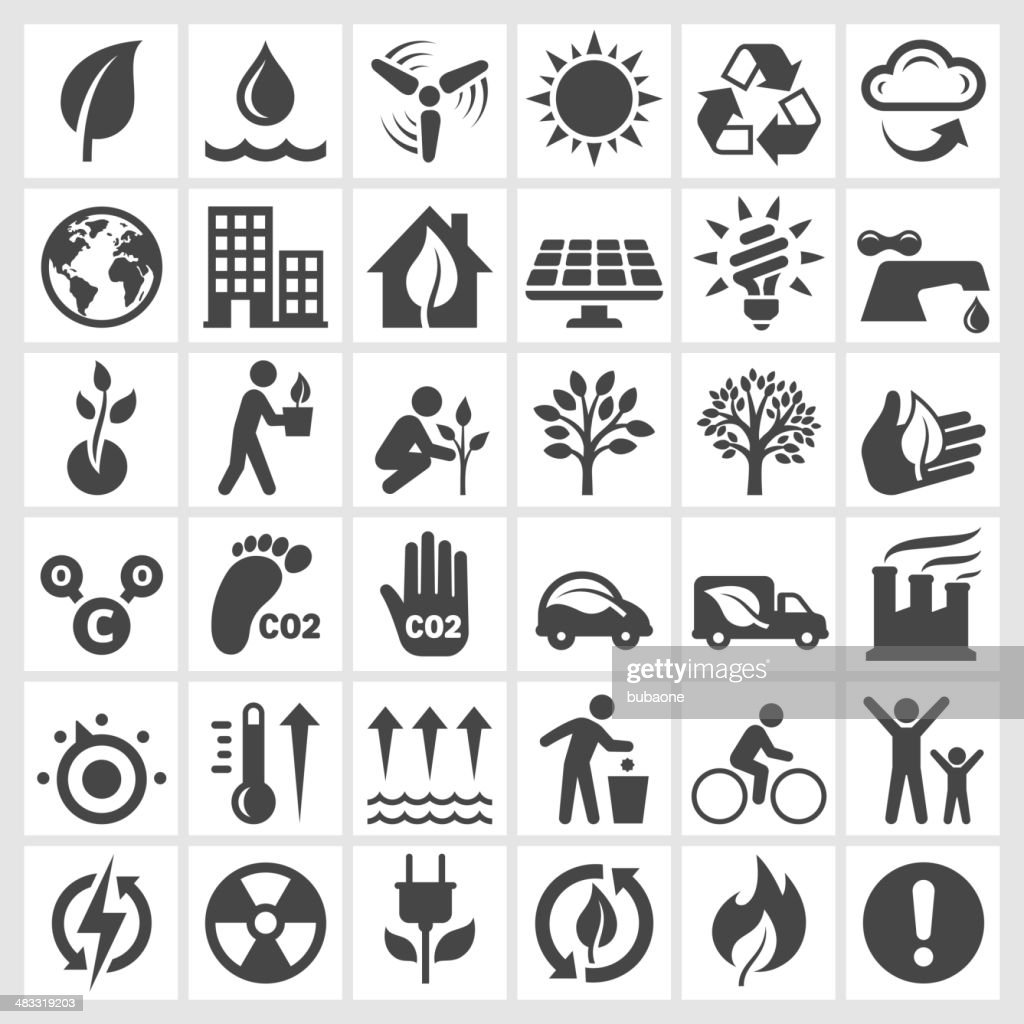 Black and white environmental conservation icons : stock illustration
