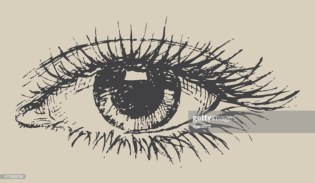 Black and white eye drawing on paper : stock illustration