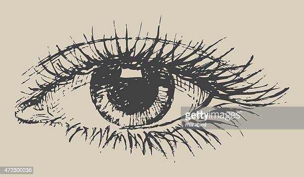 black and white eye drawing on paper - ophthalmology stock illustrations, clip art, cartoons, & icons