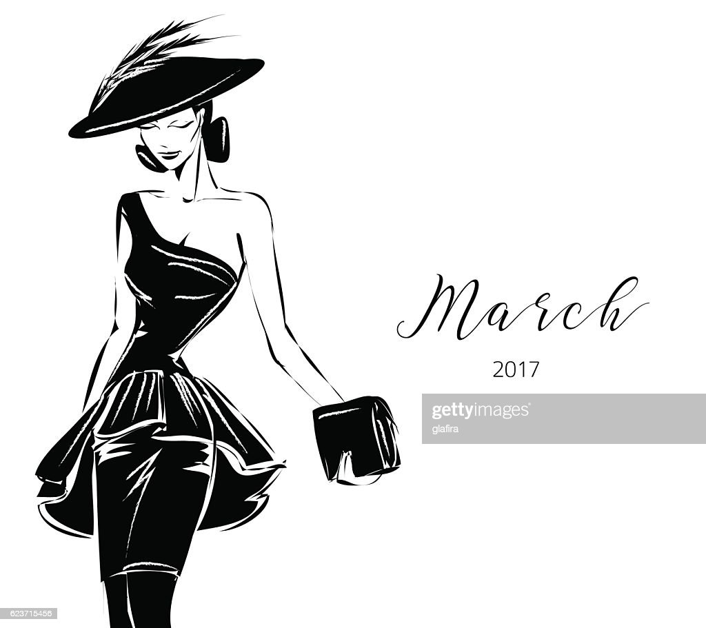 Black and white fashion woman model with boutique logo background