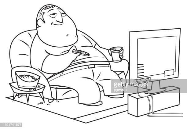 黒と白、太った男はテレビを見る - 食べ過ぎ点のイラスト素材/クリップアート素材/マンガ素材/アイコン素材