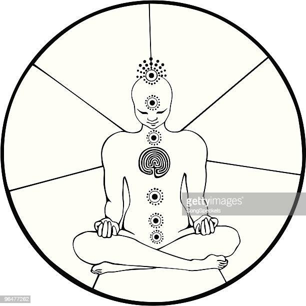 black and white figure in meditation lotus pose with chakras - androgynous stock illustrations, clip art, cartoons, & icons