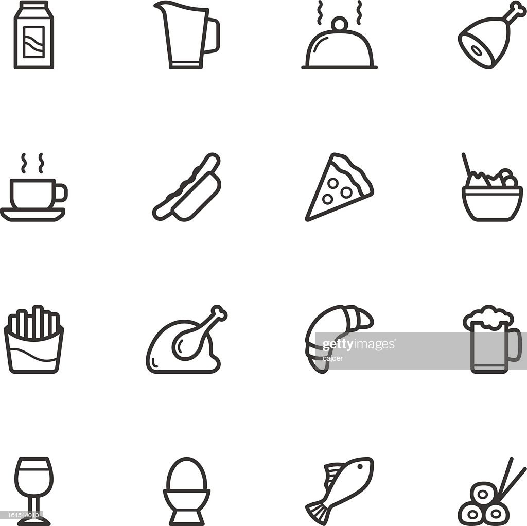 Black and white flat icon illustration of a variety of food