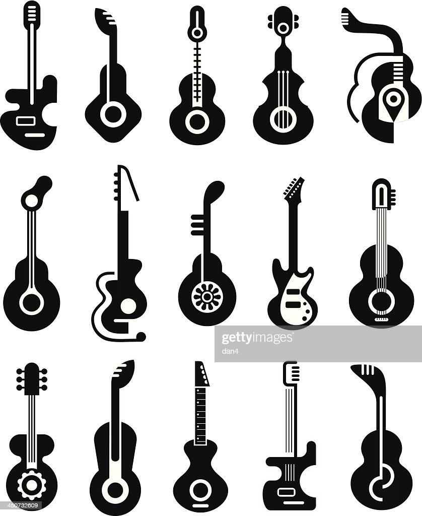 Black and white flat images of guitars