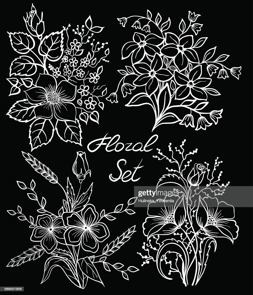 black and white floral collection with leaves and flowers set.