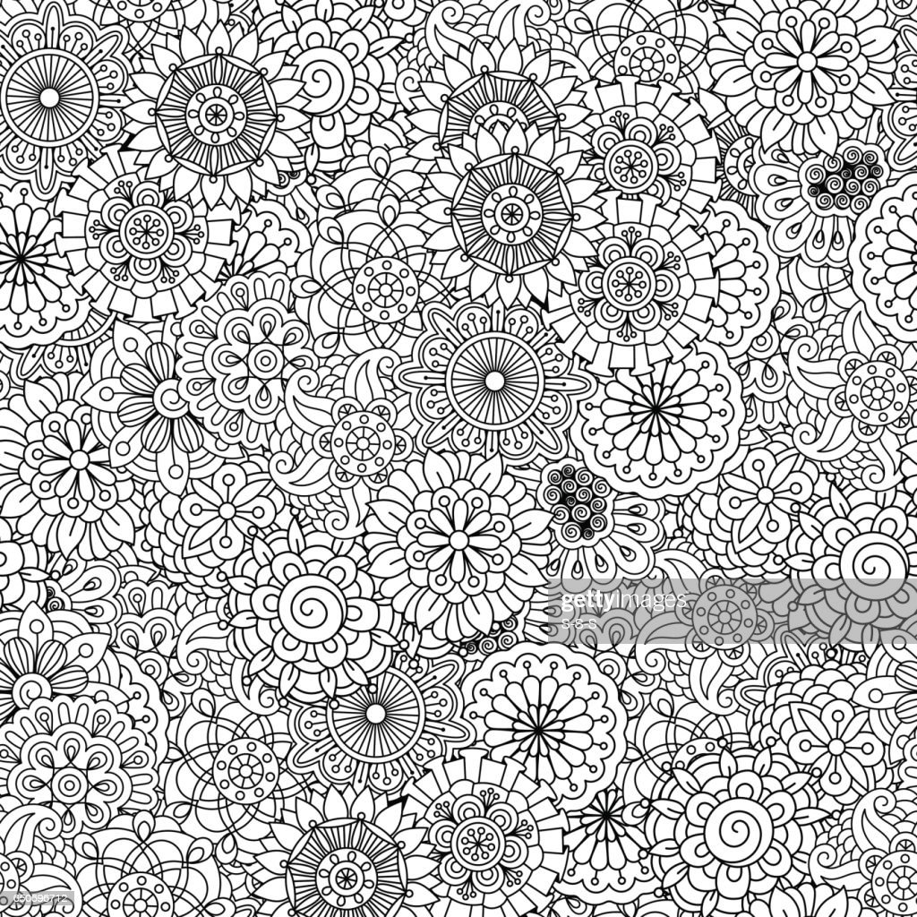 Black and white floral decorative pattern