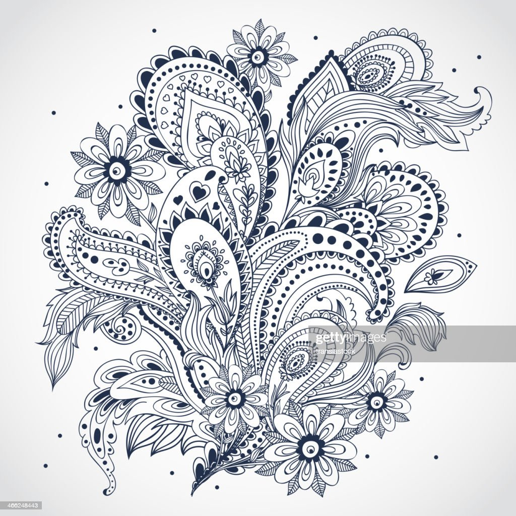 Black and white floral Indian ornament on white background