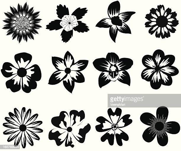 black and white flower silhouette. - daisy stock illustrations, clip art, cartoons, & icons