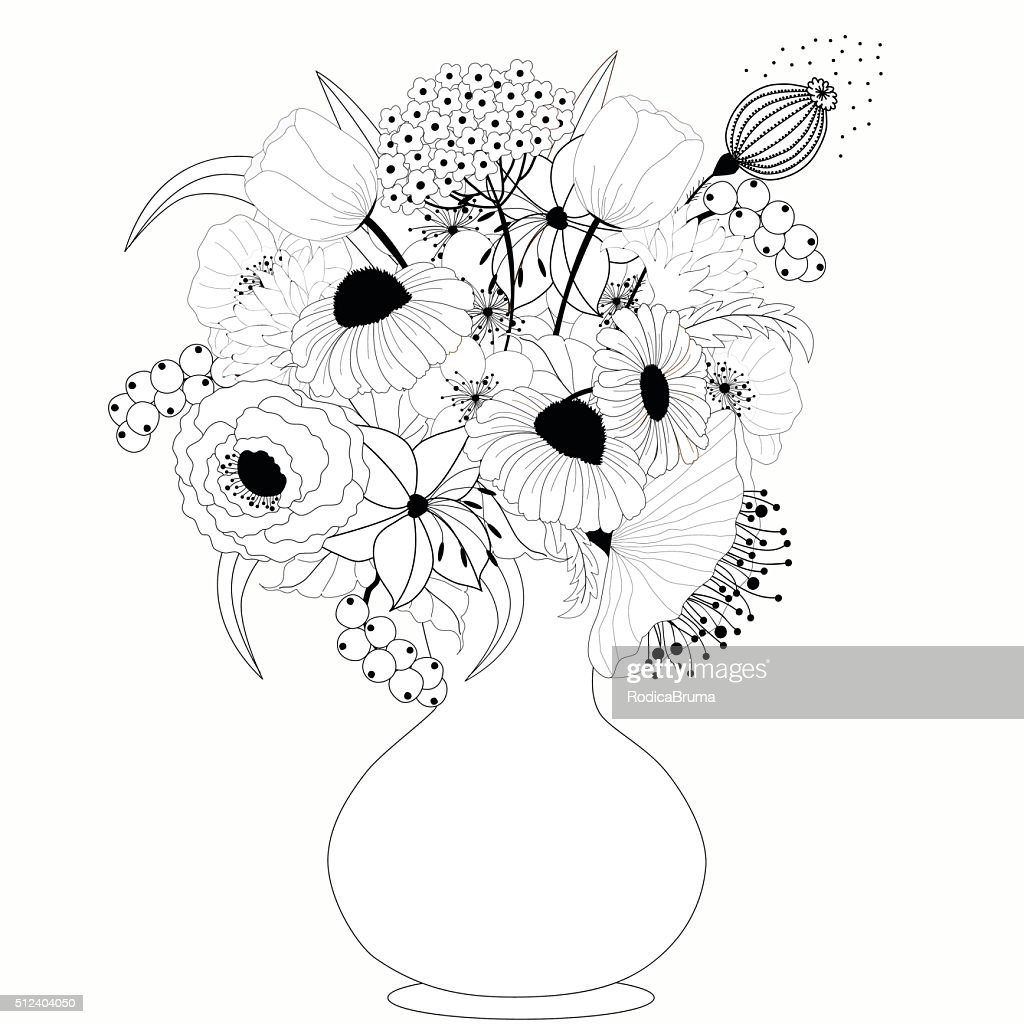 Black And White Flowers In Vase Vector Art Getty Images