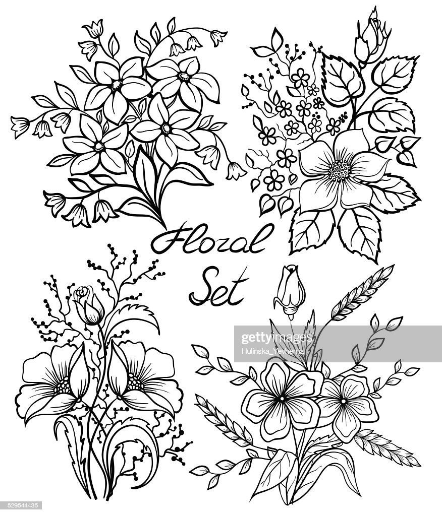 black and white flowers set. floral collection with leaves and flowers