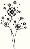 black and white flowers.Vector abstract flowers