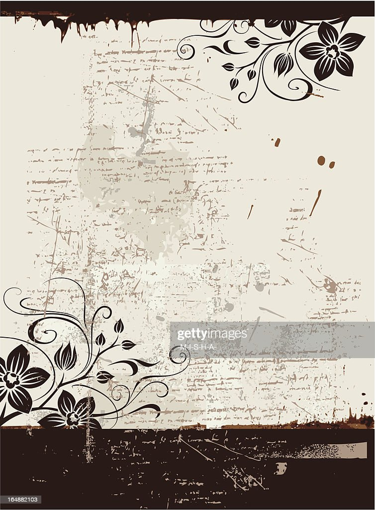 Black and white flowery spray painted grunge background