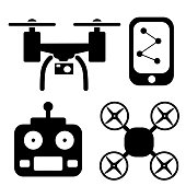black and white fly drone vector icon