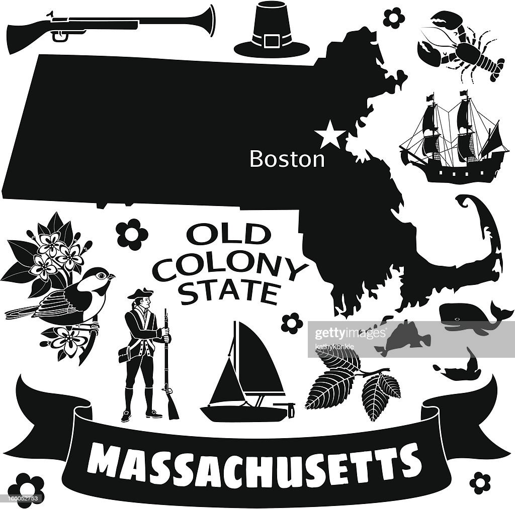 A black and white flyer with many Massachusetts icons