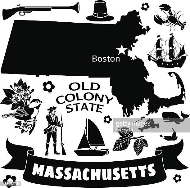a black and white flyer with many massachusetts icons - boston common stock illustrations