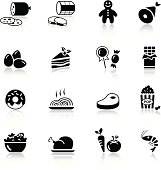 Black and white food icons on white background