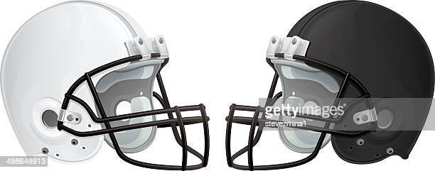 black and white football helmets - football helmet stock illustrations