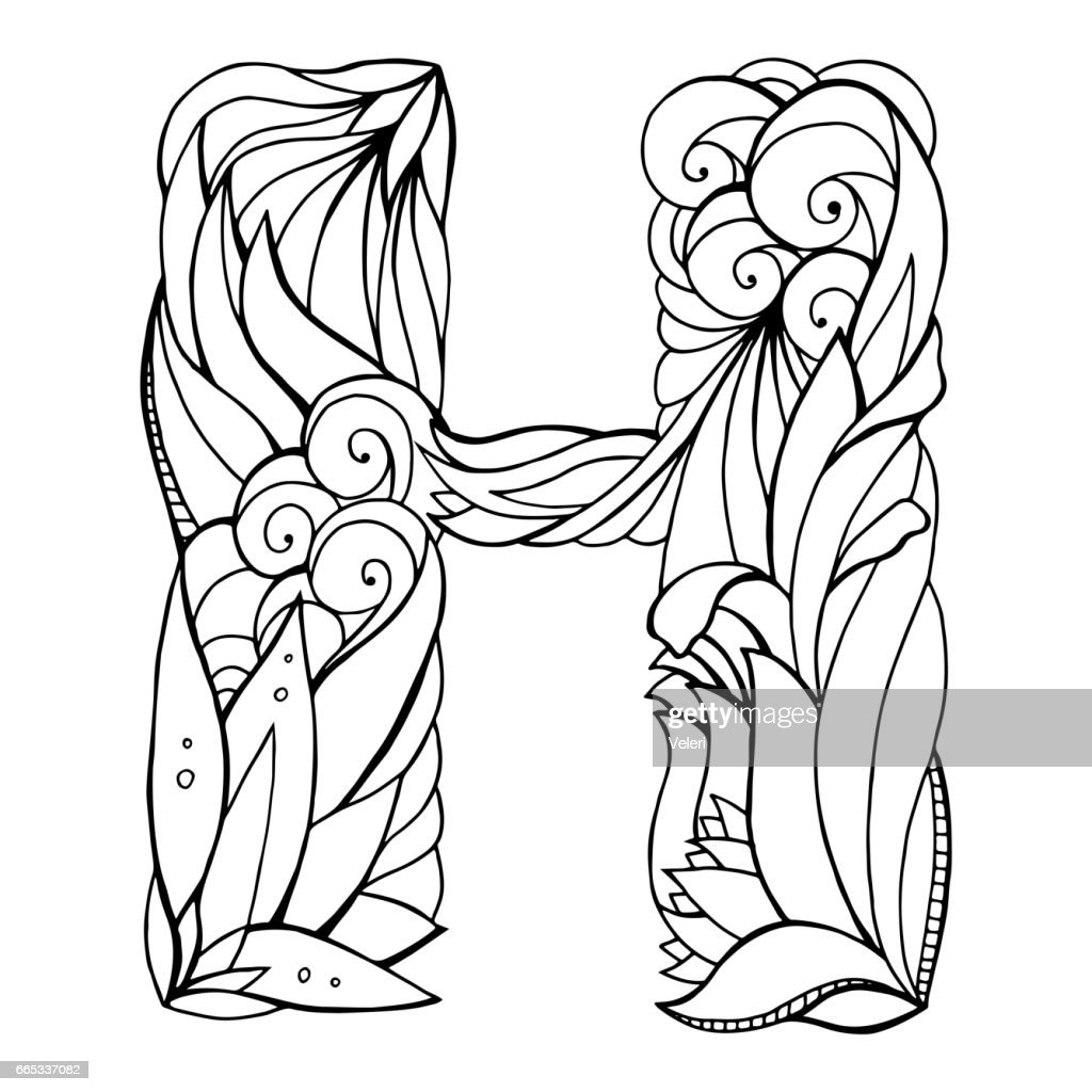 Black and white freehand drawing capital letter H with floral doodle pattern. Vector element for your design